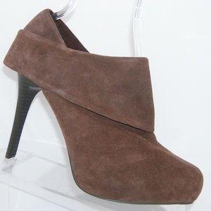 Fergie 'General Too' brown suede bootie heels 9M